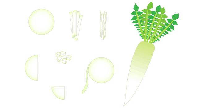 大根の下ごしらえと料理で良く使う7種類の切り方、おでんや煮物などに